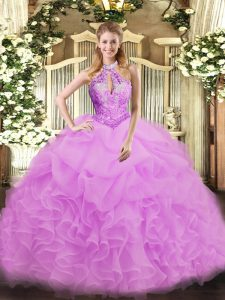 Organza Halter Top Sleeveless Lace Up Beading Sweet 16 Quinceanera Dress in Lilac