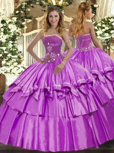 Romantic Strapless Sleeveless Lace Up Quinceanera Dresses Lilac Organza and Taffeta