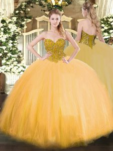 Gold Sleeveless Tulle Lace Up Quinceanera Dress for Military Ball and Sweet 16 and Quinceanera