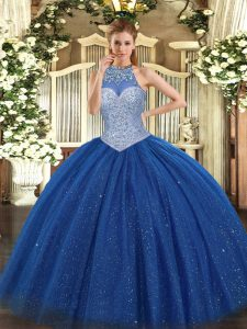 Royal Blue Ball Gowns Halter Top Sleeveless Tulle Floor Length Lace Up Beading 15th Birthday Dress