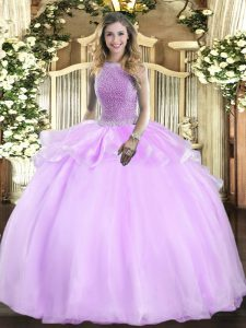 New Style Lilac Sleeveless Organza Lace Up 15th Birthday Dress for Military Ball and Sweet 16 and Quinceanera