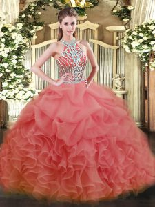 Watermelon Red Quinceanera Dresses Military Ball and Sweet 16 and Quinceanera with Beading Halter Top Sleeveless Lace Up