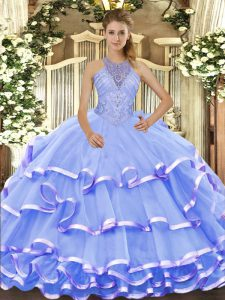 Elegant Halter Top Sleeveless Lace Up Quinceanera Gown Blue Organza