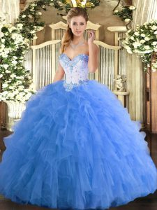 Charming Baby Blue Lace Up Vestidos de Quinceanera Beading and Ruffles Sleeveless Floor Length