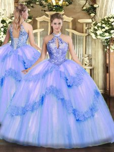 Blue Tulle Lace Up Sweet 16 Dresses Sleeveless Floor Length Appliques and Sequins