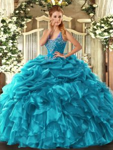 Flare Straps Sleeveless Lace Up Quinceanera Dress Teal Organza
