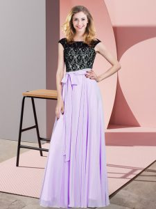 High Class Lavender Empire Lace and Belt Lace Up Chiffon Sleeveless Floor Length