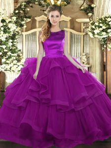 Fashion Sleeveless Tulle Floor Length Lace Up Sweet 16 Quinceanera Dress in Purple with Ruffles
