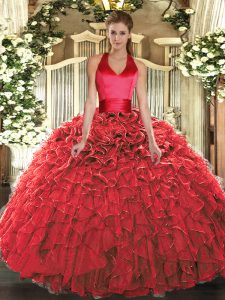 Sumptuous Floor Length Ball Gowns Sleeveless Red Quinceanera Dresses Lace Up