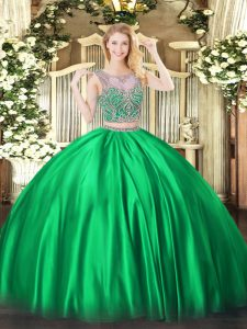 Scoop Sleeveless Satin 15 Quinceanera Dress Beading Lace Up