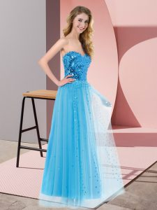 Sequins Prom Dresses Blue Lace Up Sleeveless Floor Length