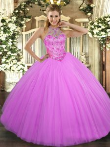 Lilac Quinceanera Dress Military Ball and Sweet 16 and Quinceanera with Beading Halter Top Sleeveless Lace Up