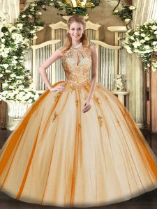 Charming Orange Red Halter Top Neckline Lace and Appliques 15th Birthday Dress Sleeveless Lace Up