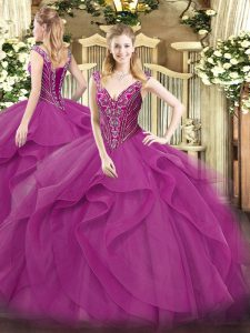 V-neck Sleeveless Lace Up Quinceanera Gown Lilac Tulle
