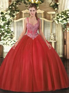 Colorful Sleeveless Beading Lace Up Quinceanera Gowns