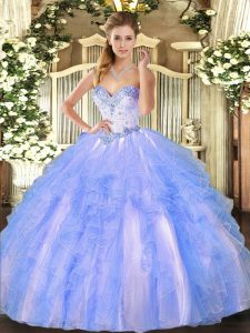 Sweetheart Sleeveless Lace Up Quinceanera Gown Blue And White Tulle