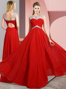 Red Empire Chiffon Scoop Sleeveless Beading Floor Length Clasp Handle