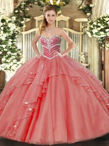 Smart Coral Red Tulle Lace Up Sweetheart Sleeveless Floor Length Quinceanera Dresses Beading and Ruffles