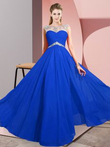 Royal Blue Scoop Clasp Handle Beading Prom Dress Sleeveless