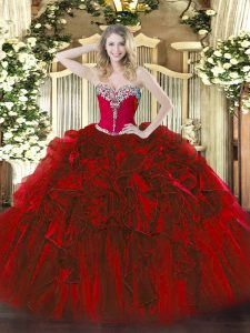 Eye-catching Sleeveless Organza Floor Length Lace Up Quinceanera Gown in Wine Red with Beading and Ruffles