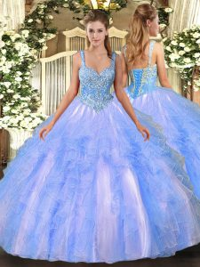 Popular Light Blue Lace Up Straps Beading and Ruffles 15 Quinceanera Dress Tulle Sleeveless