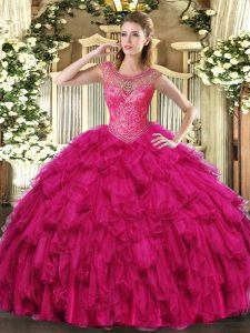 Customized Fuchsia Scoop Neckline Beading and Ruffles Ball Gown Prom Dress Sleeveless Lace Up