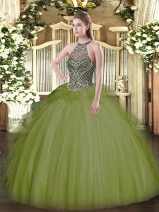 Olive Green Ball Gowns Beading Quinceanera Gowns Lace Up Tulle Sleeveless Floor Length
