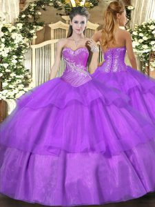 Dynamic Lilac Tulle Lace Up Sweetheart Sleeveless Floor Length Quinceanera Dress Beading and Ruffled Layers
