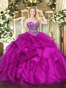 Fuchsia Ball Gowns Beading and Ruffles Sweet 16 Dress Lace Up Organza Sleeveless Floor Length