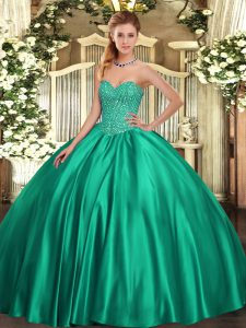High End Satin Sweetheart Sleeveless Lace Up Beading 15th Birthday Dress in Turquoise