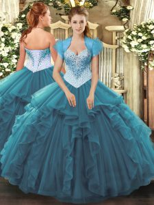 Teal Sweetheart Lace Up Beading and Ruffles Sweet 16 Dress Sleeveless