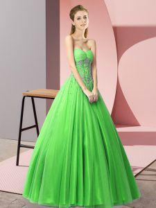 Artistic Green A-line Sweetheart Sleeveless Tulle Floor Length Lace Up Beading