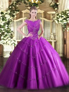 Best Selling Scoop Sleeveless Tulle Quinceanera Gown Beading and Appliques Zipper