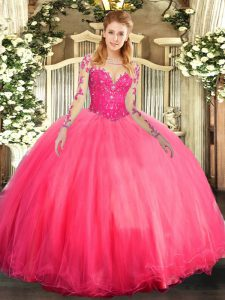 Sweet Coral Red Scoop Lace Up Lace Ball Gown Prom Dress Long Sleeves