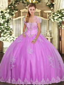 Lilac Ball Gowns Strapless Sleeveless Tulle Floor Length Lace Up Appliques Sweet 16 Dresses