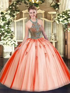 Excellent Floor Length Ball Gowns Sleeveless Coral Red Quinceanera Dresses Lace Up