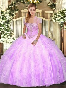 Lilac Quinceanera Gowns Military Ball and Sweet 16 and Quinceanera with Appliques and Ruffles Strapless Sleeveless Lace Up