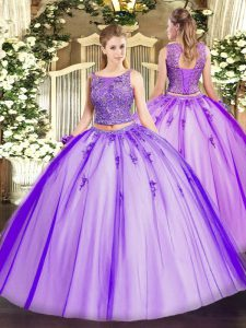 Nice Lavender Lace Up Scoop Beading and Appliques 15 Quinceanera Dress Tulle Sleeveless