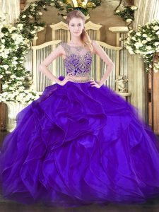 Inexpensive Floor Length Lace Up Sweet 16 Dress Purple for Military Ball and Sweet 16 and Quinceanera with Beading and Ruffles