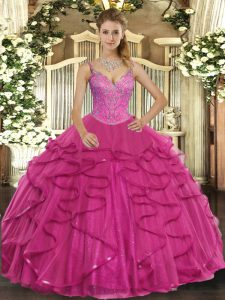 Extravagant Hot Pink Ball Gowns Tulle V-neck Sleeveless Beading and Ruffles Floor Length Lace Up Quinceanera Gowns