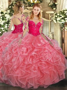 Watermelon Red Organza Lace Up Quinceanera Dresses Long Sleeves Floor Length Lace and Ruffles