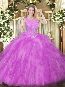 Lilac Sleeveless Tulle Zipper Party Dress for Girls for Military Ball and Sweet 16 and Quinceanera
