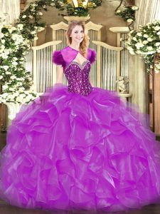 Dazzling Fuchsia Lace Up Sweet 16 Dresses Beading and Ruffles Sleeveless Floor Length