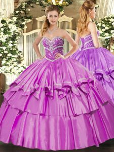 Modern Lilac Sweetheart Neckline Beading and Ruffled Layers 15 Quinceanera Dress Sleeveless Lace Up