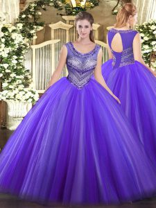 Sleeveless Tulle Floor Length Lace Up 15 Quinceanera Dress in Eggplant Purple with Beading