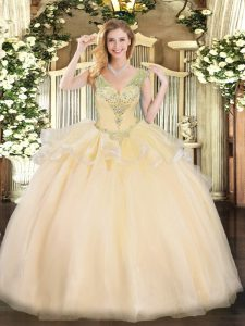 Cute Tulle Sleeveless Floor Length 15 Quinceanera Dress and Beading