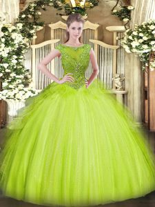 Perfect Sleeveless Tulle Floor Length Zipper Sweet 16 Dresses in Yellow Green with Beading