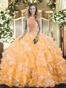Pretty Floor Length Lace Up Ball Gown Prom Dress Orange for Military Ball and Sweet 16 and Quinceanera with Beading and Ruffled Layers