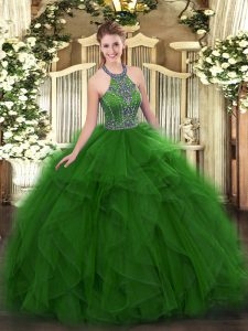 Floor Length Lace Up Ball Gown Prom Dress Green for Military Ball and Sweet 16 and Quinceanera with Beading and Ruffles