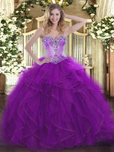 Luxury Eggplant Purple Lace Up Sweetheart Beading and Ruffles Ball Gown Prom Dress Organza Sleeveless
